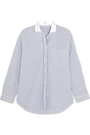 BRUNELLO CUCINELLI Embellished striped stretch-cotton poplin shirt