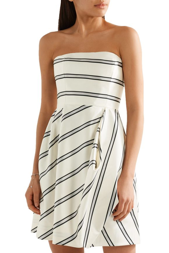 Strapless striped satin-twill mini dress | HALSTON HERITAGE | Sale up to 70%  off | THE OUTNET