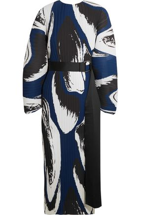 SOLACE LONDON Else belted printed plissé-satin midi dress