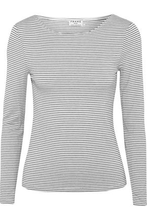 FRAME Striped stretch modal-blend jersey top