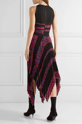 PROENZA SCHOULER Asymmetric cutout printed plissé-cloqué dress