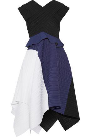 PROENZA SCHOULER Color-block plissé-crepe dress