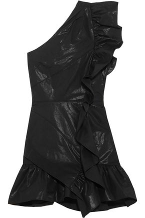 ISABEL MARANT Lavern one-shoulder ruffled coated cotton-blend mini dress