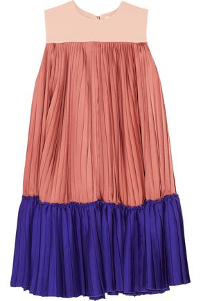 ROKSANDA Color-block pleated satin-twill and crepe de chine mini dress