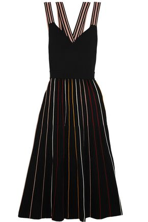 ROKSANDA Striped ribbed stretch-knit dress