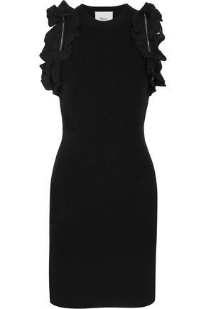 3.1 PHILLIP LIM Zip-detailed ruffled stretch-cotton mini dress