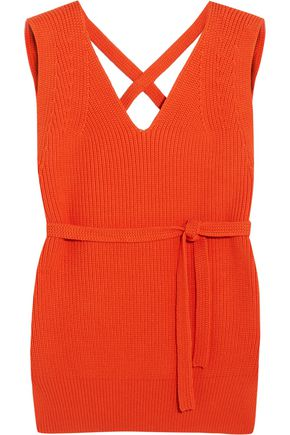 DKNY Open-back ribbed cotton-blend vest