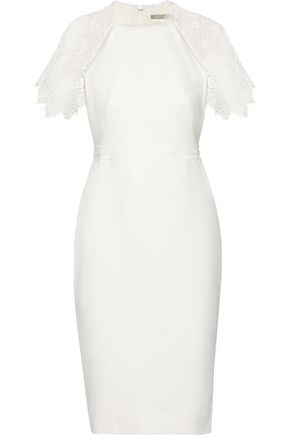 LELA ROSE Guipure lace-trimmed crepe dress
