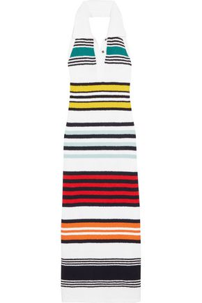 ROSIE ASSOULIN Striped cotton halterneck maxi dress