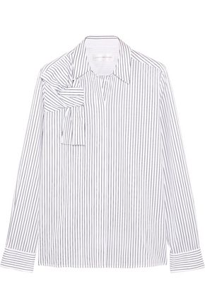 VICTORIA, VICTORIA BECKHAM Pinstriped knotted cotton-poplin shirt