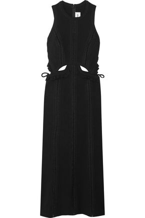 SELF-PORTRAIT Ruffle-trimmed cutout crepe midi dress