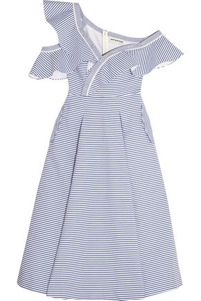 SELF-PORTRAIT Off-the-shoulder striped cotton-poplin midi dress