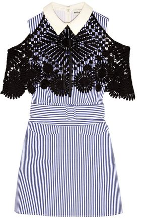 SEE BY CHLOÉ Guipure lace-paneled striped cotton-poplin mini dress