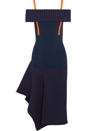 JASON WU Off-the-shoulder asymmetric stretch-knit and jacquard-knit dress