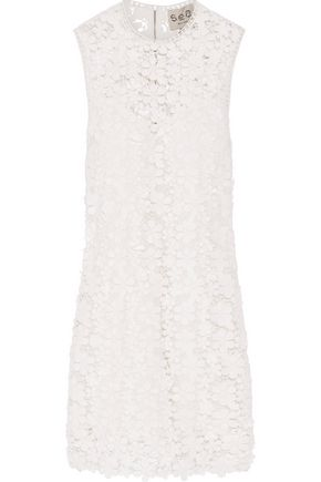 SEA Appliquéd guipure cotton-lace mini dress