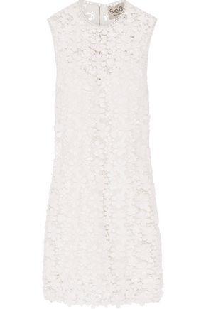 SEA Appliquéd guipure lace mini dress