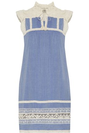 SEA Ruffled lace-trimmed cotton-chambray dress