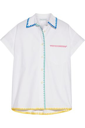 MIRA MIKATI Embroidered cotton-poplin shirt