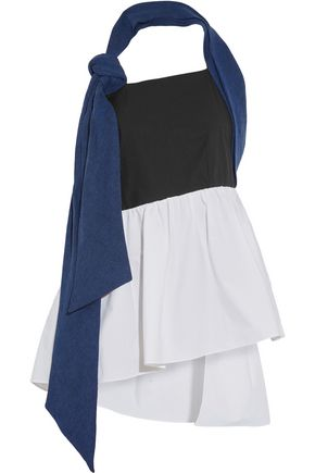 ISA ARFEN Denim, linen and cotton-blend poplin halterneck top