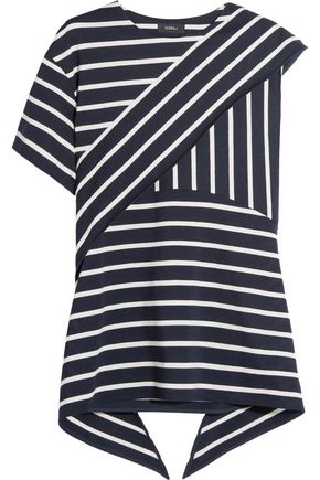 GOEN.J Asymmetric layered striped cotton-blend top