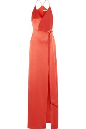 HALSTON HERITAGE Wrap-effect crepe-paneled satin gown
