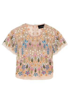 NEEDLE & THREAD Embellished tulle top