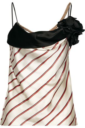 LANVIN Embellished striped satin-jacquard camisole