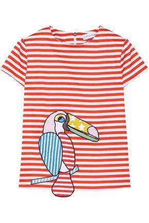 MIRA MIKATI Appliquéd striped stretch-cotton top