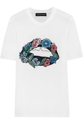 MARKUS LUPFER Embroidered cotton-jersey T-shirt