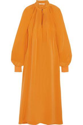 TIBI Pleated silk-crepe midi dress