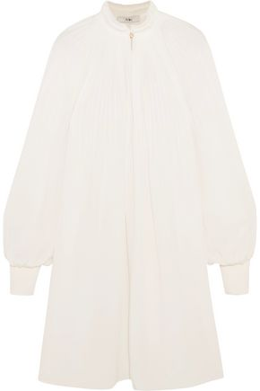 TIBI Edwardian pleated silk crepe de chine mini dress