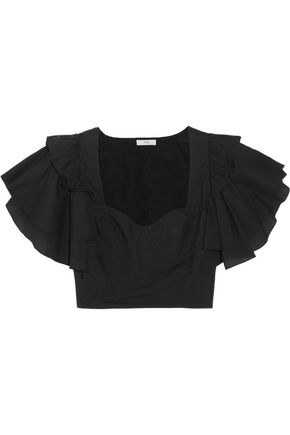 TOME Cropped ruffled cotton-poplin top