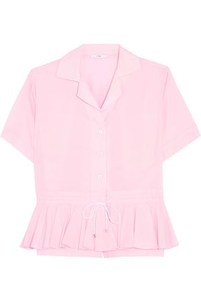 TOME Ruffle-trimmed cotton peplum shirt