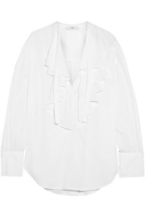 TOME Ruffled open-back organic cotton-voile blouse