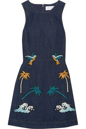 VICTORIA, VICTORIA BECKHAM Embroidered denim mini dress