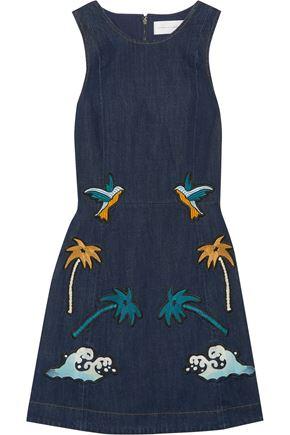 VICTORIA, VICTORIA BECKHAM Embroidered denim mini dress