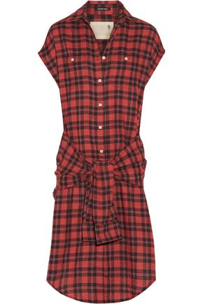 R13 Tie-front plaid flannel shirt dress