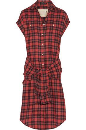 R13 Tie-front plaid flannel shirt dress