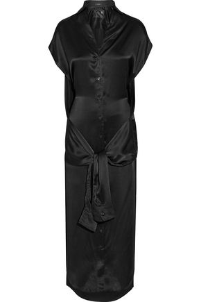 R13 Tie-front silk-satin midi dress