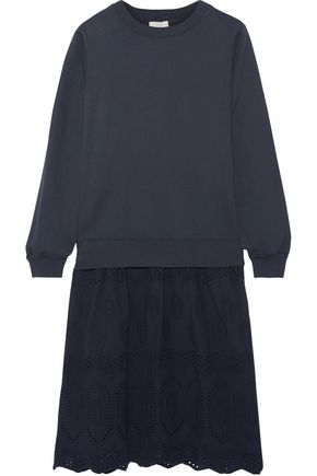 CLU Mix Media broderie anglaise-paneled cotton-jersey dress