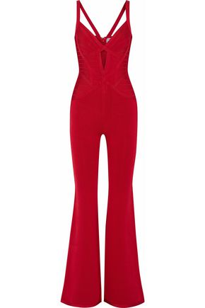 HERVÉ LÉGER Cutout bandage and stretch-ponte jumpsuit