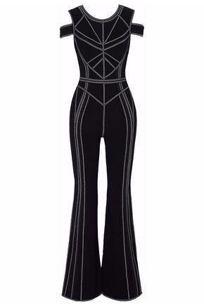 HERVÉ LÉGER Cold-shoulder embroidered stretch-knit jumpsuit