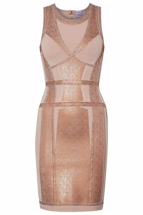 HERVÉ LÉGER Paneled metallic stretch-knit mini dress