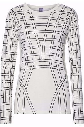 HERVÉ LÉGER BY MAX AZRIA Printed stretch-jersey top
