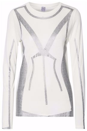HERVÉ LÉGER Metallic printed modal top