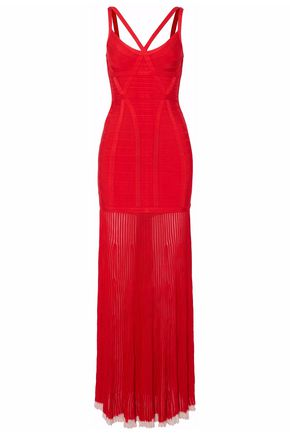 HERVÉ LÉGER Cutout bandage and ribbed-knit gown