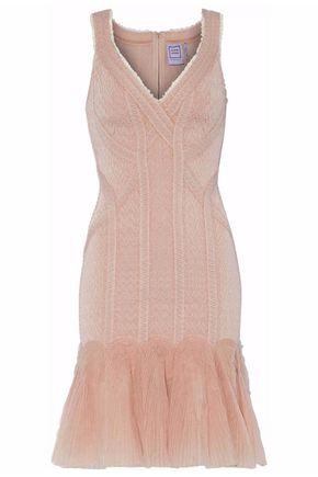 HERVÉ LÉGER Ruffled tulle and bandage mini dress