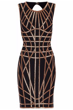 HERVÉ LÉGER Cutout metallic bandage mini dress