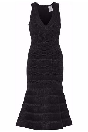 HERVÉ LÉGER Flared paneled bandage midi dress
