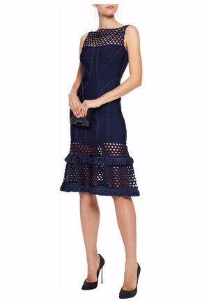 HERVÉ LÉGER Fringed laser-cut bandage dress